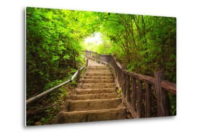 Stairway to Forest, Erawan National Park,Kanchanburi,Thailand-lkunl-Metal Print
