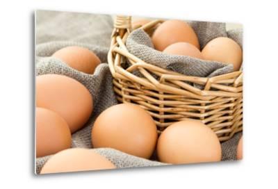 Close-Up of Brown Eggs-Morganka-Metal Print