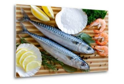 Seafood, Fish - Fresh Mackerel and Shrimps in Cuisine-Gorilla-Metal Print