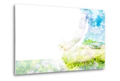 Nature Harmony Healthy Lifestyle Concept - Double Exposure Clouse up Image of Woman Doing Yoga Asa-f9photos-Metal Print