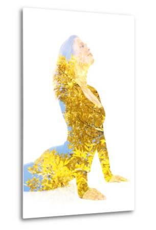 Double Exposure Portrait of Young Woman Performing Yoga Asana-Victor Tongdee-Metal Print