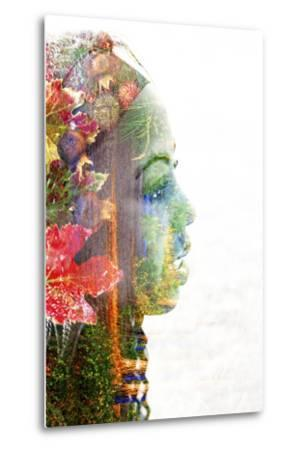 Double Exposure Portrait of A Young Woman with Colorful Flowers-illu-Metal Print