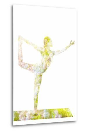 Nature Harmony Healthy Lifestyle Concept - Double Exposure Image of Woman Doing Yoga Asana Lord Of-f9photos-Metal Print