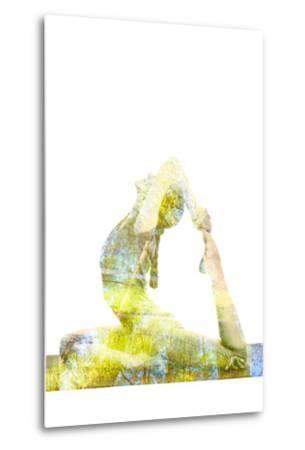Nature Harmony Healthy Lifestyle Concept - Double Exposure Image of Woman Doing Yoga Asana King Pig-f9photos-Metal Print