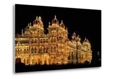 Mysore Palace in India Illuminated at Night-flocu-Metal Print