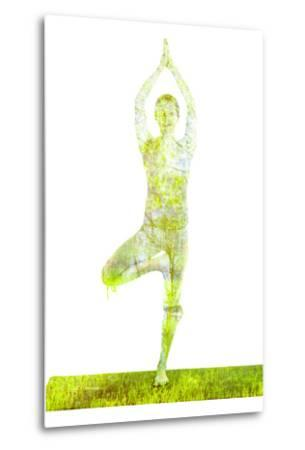 Nature Harmony Healthy Lifestyle Concept - Double Exposure Image of Woman Doing Yoga Tree Pose Asan-f9photos-Metal Print
