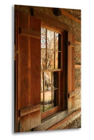 Fall reflections in windows of Cades Cove cabin, Tennessee, USA-Anna Miller-Metal Print