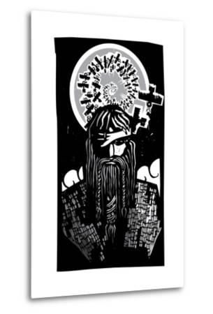 Norse God Odin with Spiral Crows-JeffreyThompson-Metal Print