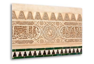 Moorish Plasterwork and Tiles from inside the Alhambra Palace-Lotsostock-Metal Print