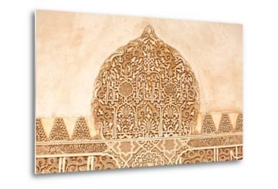 Moorish Plasterwork from inside the Alhambra Palace in Granada-Lotsostock-Metal Print