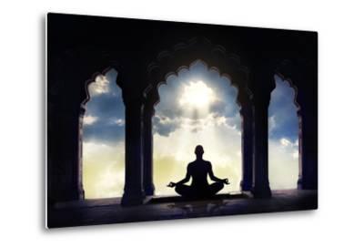 Meditating in Old Temple-Marina Pissarova-Metal Print