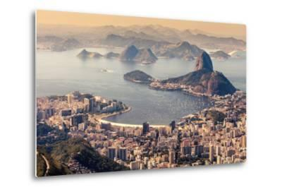 Rio De Janeiro, Brazil. Suggar Loaf and Botafogo Beach Viewed from Corcovado-Curioso Travel Photography-Metal Print