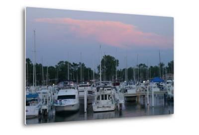 Boat docks at sunset, Indiana Dunes, Indiana, USA-Anna Miller-Metal Print