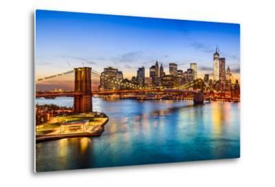 New York City, USA Skyline over East River and Brooklyn Bridge.-SeanPavonePhoto-Metal Print
