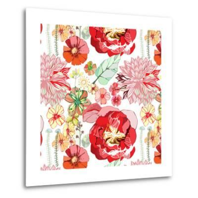 Pattern with Red Flowers- UyUy-Metal Print