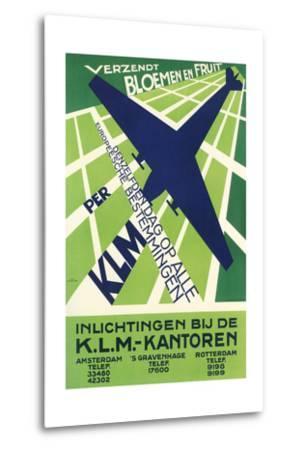 Klm Travel Poster--Metal Print