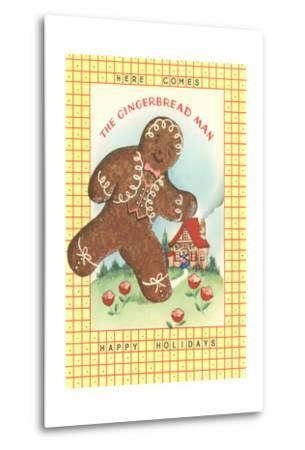 Here Comes Gingerbread Man--Metal Print
