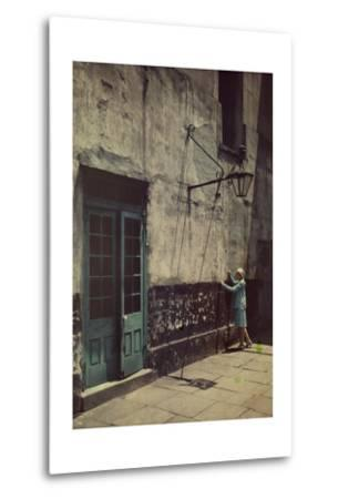 A Woman Touches the Wall of the Municipal Building for the Cabildo-Edwin L^ Wisherd-Metal Print