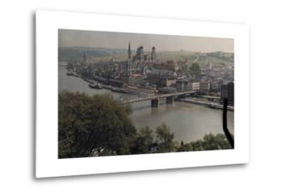 A View of the Town of Passau Along the Danube River-Hans Hildenbrand-Metal Print