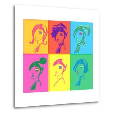 Young Fashion Woman Design, Pop Art Style-lavitrei-Metal Print