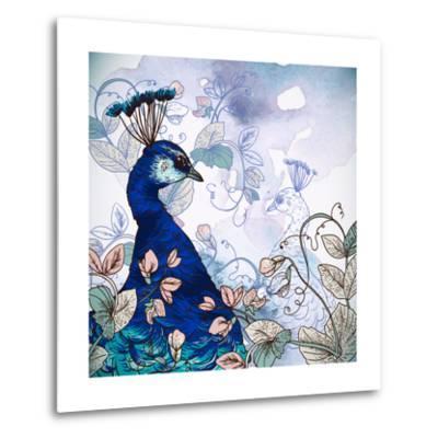 Floral Background with Peacock-Varvara Kurakina-Metal Print
