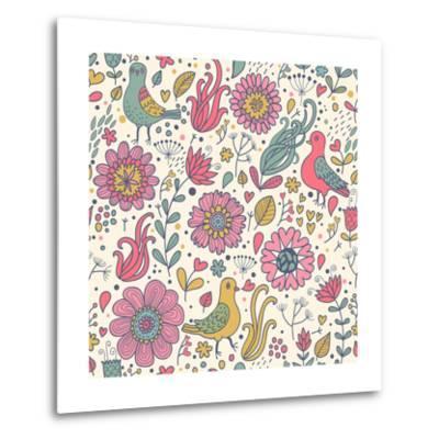 Pigeons in Flowers-smilewithjul-Metal Print