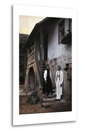 A Swabian Couple Poses at the Foot of the Staircase to their Home-Hans Hildenbrand-Metal Print