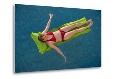 A Young Woman in a Pool on Virginia Beach, Virginia-Joel Sartore-Metal Print