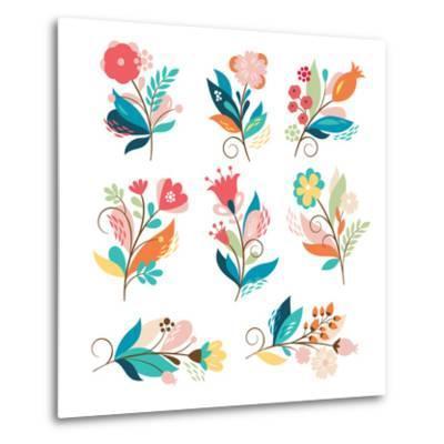 Floral Set-lenlis-Metal Print
