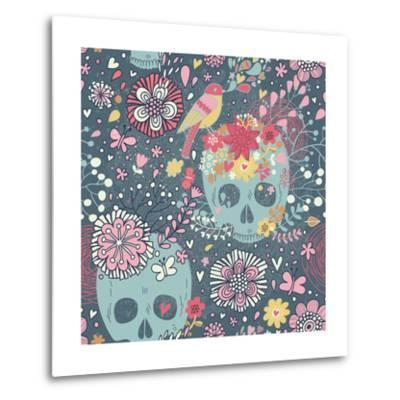 Mexican Concept Background with Flowers, Skulls and Birds-smilewithjul-Metal Print