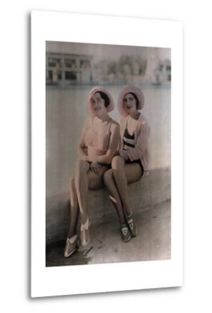 Two Girls in Bathing Suits Sit on a Concrete Ledge-Wilhelm Tobien-Metal Print
