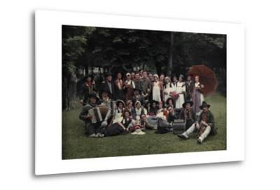 A Large Group of Peasants Pose at the Geneva Folk Costume Festival-Hans Hildenbrand-Metal Print