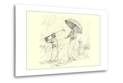 Golfing in the Rain--Metal Print