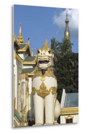 Zoomorphic Statue at Shwedagon Pagoda in Yangon or Rangoon, Myanmar--Metal Print