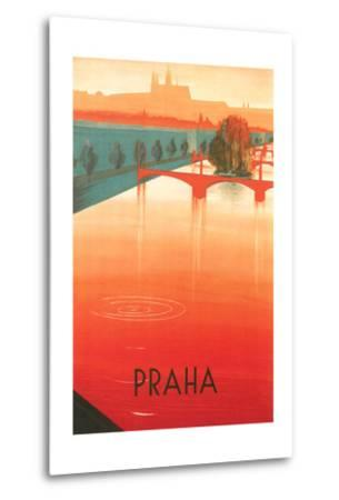 Prague Travel Poster--Metal Print