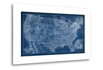US Map Blueprint-Vision Studio-Metal Print