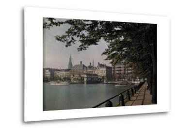A View of Binnenalster Lake Surrounded by the Alster Pavillion-Hans Hildenbrand-Metal Print