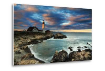 A Dramatic Sky at Sunset over the Portland Head Light-Robbie George-Metal Print