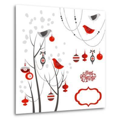 Retro Christmas Card with Two Birds, White Snowflakes, Winter Trees and Baubles-Alisa Foytik-Metal Print