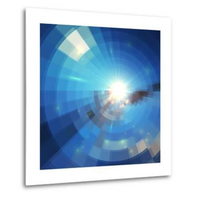 Blue Winter Sunshine in Mosaic Glass Window-art_of_sun-Metal Print