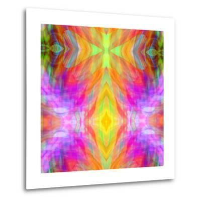Art Vintage Geometric Ornamental Pattern, Blur Background in Yellow, Lilac, Pink and Red Colors-Irina QQQ-Metal Print