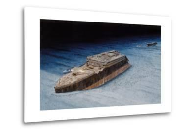 Painting of the Sunken Titanic with the Submersible Alvin at the Bow-Pierre Mion-Metal Print