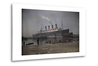 "A View of the Cunard S.S. ""Mauretania"" at Dock-Clifton R^ Adams-Metal Print"