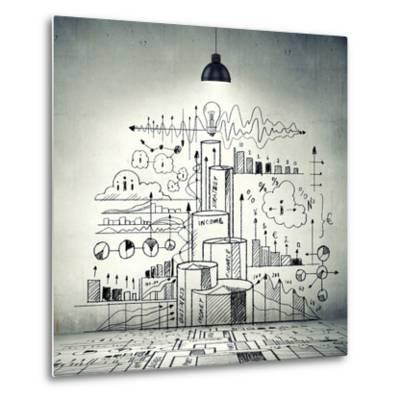 Drawn Business Plan on Wall Illuminated by Lamp-Sergey Nivens-Metal Print