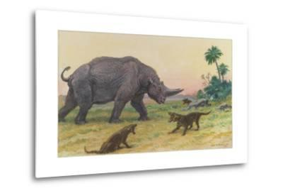 Bony Growths on the Arsinoitherium Protect it Against Hyaenodons-Charles R. Knight-Metal Print