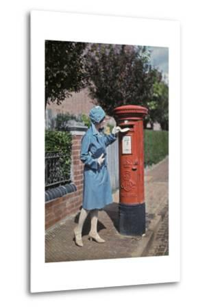 A Young Woman Mails a Letter at the Pillar Box-Clifton R^ Adams-Metal Print