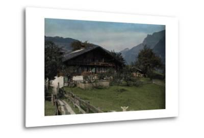 A View of a Beautiful Farmhouse and Garden in Grindelwald-Hans Hildenbrand-Metal Print