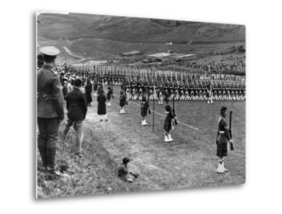 Prince of Wales Inspects Seaforth Highlanders During a Trooping of the Colour, 1929-Staff-Metal Print