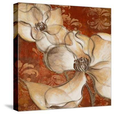 Whispering Magnolia on Red II-Lanie Loreth-Stretched Canvas Print