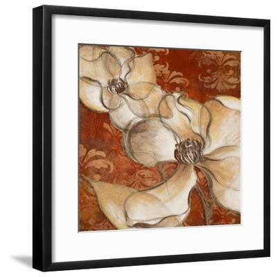 Whispering Magnolia on Red II-Lanie Loreth-Framed Art Print